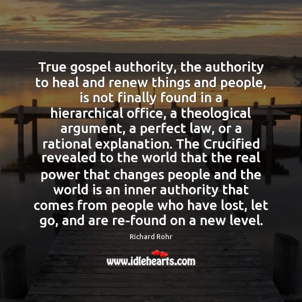 True gospel authority, the authority to heal and renew things and people, Image
