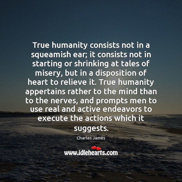 True humanity consists not in a squeamish ear; it consists not in Execute Quotes Image