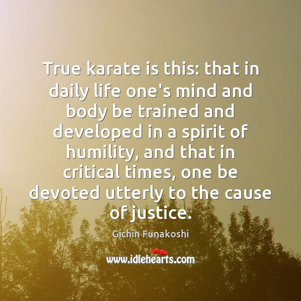 True karate is this: that in daily life one's mind and body Gichin Funakoshi Picture Quote