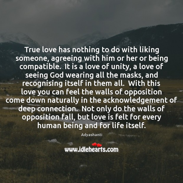 True love has nothing to do with liking someone, agreeing with him Image