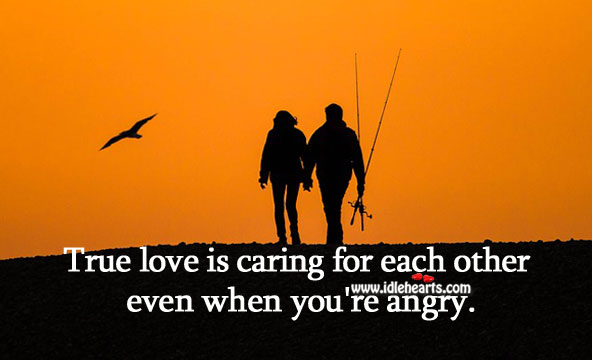 True love is caring for each other even when you're angry. Care Quotes Image