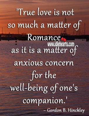 True love is concern for the well-being of one's companion. Gordon B. Hinckley Picture Quote