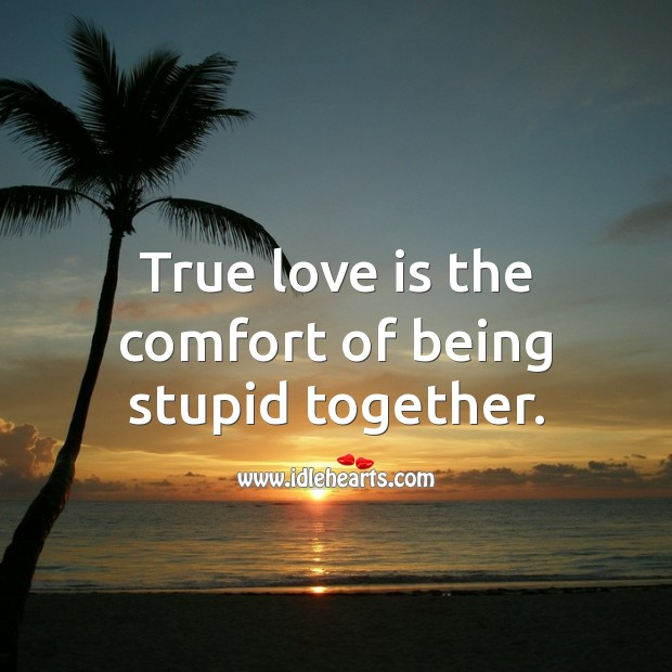 Image, True love is the comfort of being stupid together.