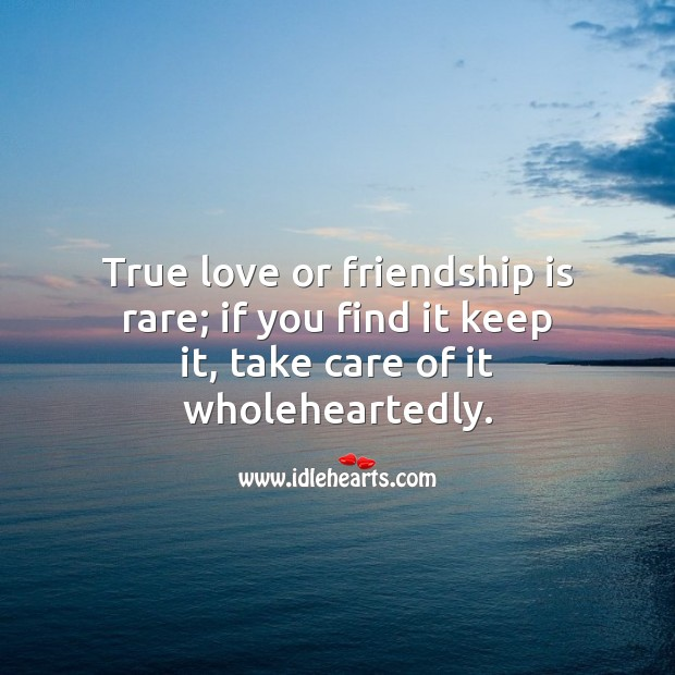 True love or friendship is rare; if you find it keep it, take care of it wholeheartedly. True Love Quotes Image