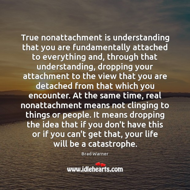 True nonattachment is understanding that you are fundamentally attached to everything and, Brad Warner Picture Quote