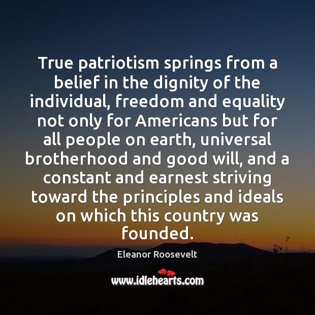 True patriotism springs from a belief in the dignity of the individual, Image