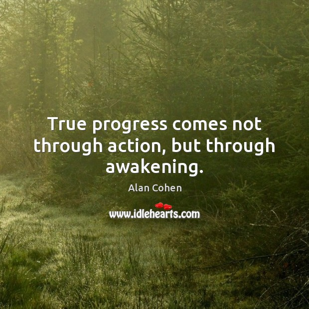 True progress comes not through action, but through awakening. Alan Cohen Picture Quote