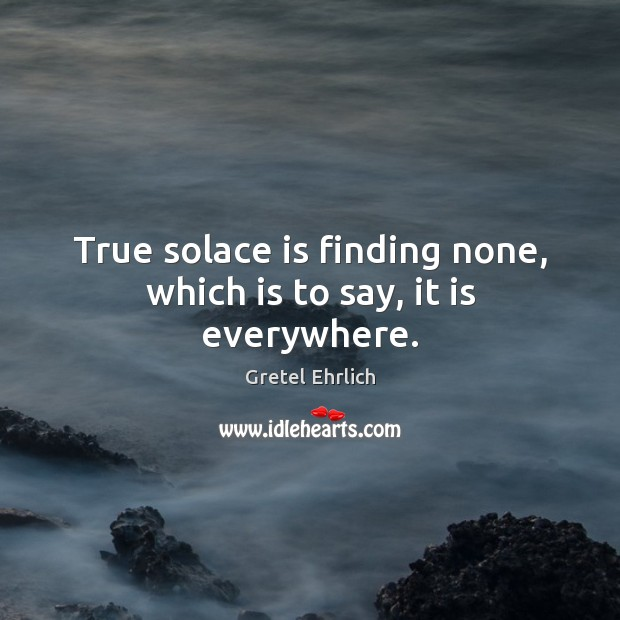 True solace is finding none, which is to say, it is everywhere. Gretel Ehrlich Picture Quote