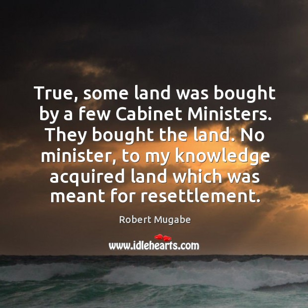 True, some land was bought by a few cabinet ministers. Robert Mugabe Picture Quote