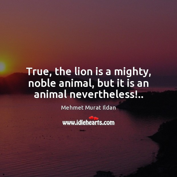 Image, True, the lion is a mighty, noble animal, but it is an animal nevertheless!..