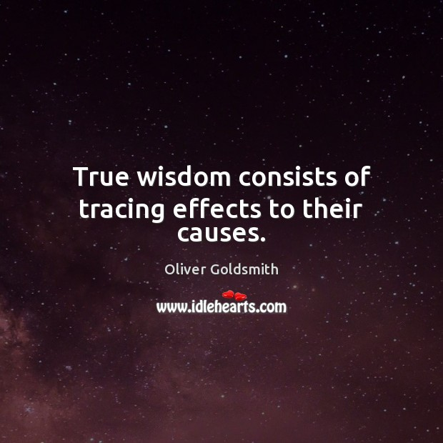 True wisdom consists of tracing effects to their causes. Image