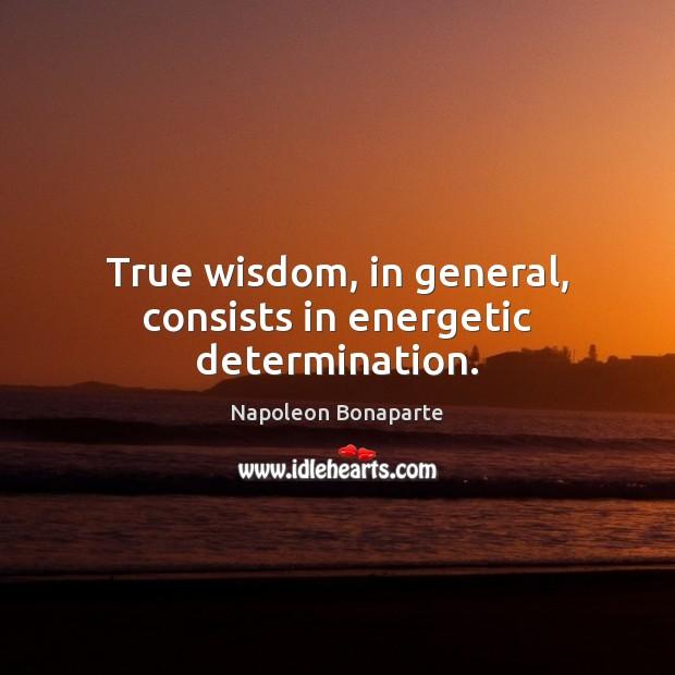 True wisdom, in general, consists in energetic determination. Napoleon Bonaparte Picture Quote
