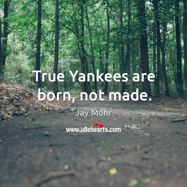 True yankees are born, not made. Image