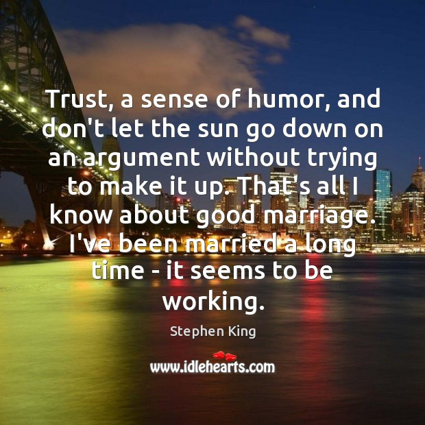 Trust, a sense of humor, and don't let the sun go down Image