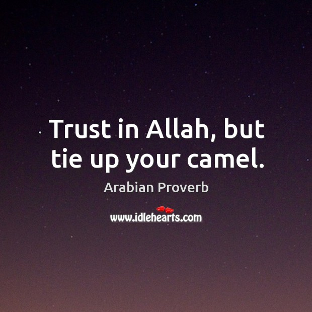 Trust allah, but tie up your camel. Arabian Proverbs Image