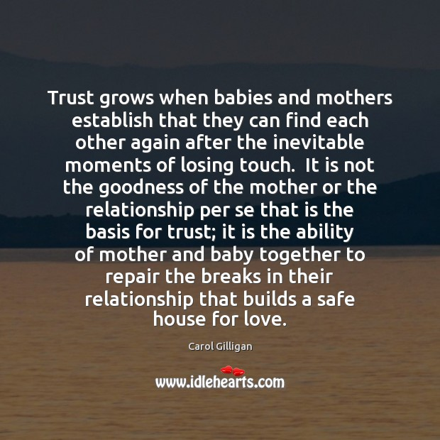 Image, Trust grows when babies and mothers establish that they can find each