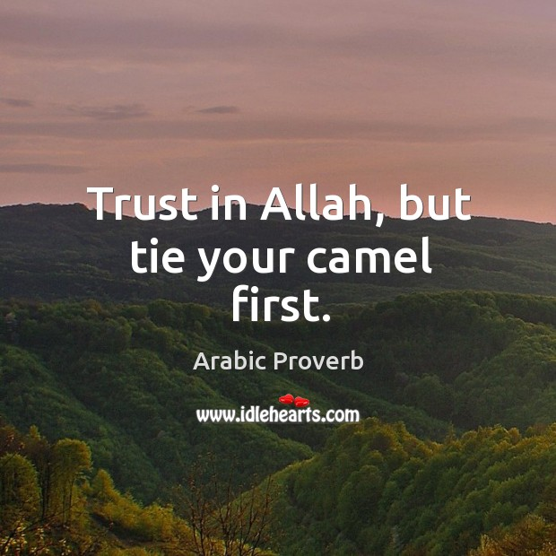 Image, Trust in allah, but tie your camel first.