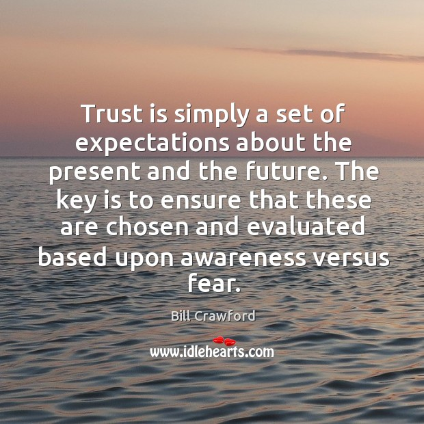 Trust is simply a set of expectations about the present and the Image
