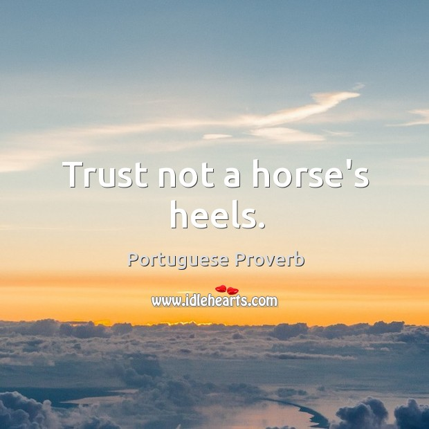 Trust not a horse's heels. Image