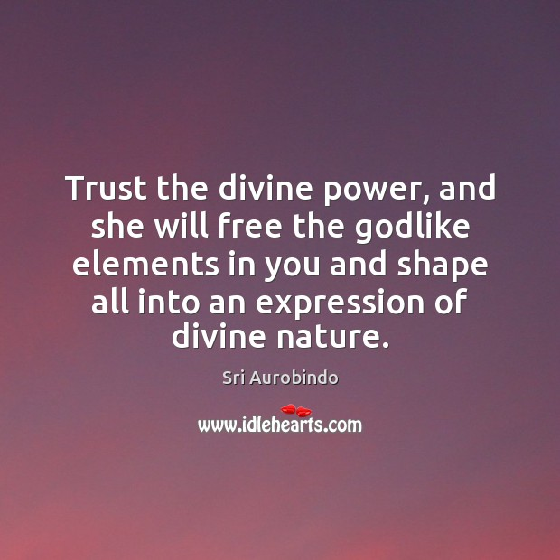 Trust the divine power, and she will free the Godlike elements in Sri Aurobindo Picture Quote