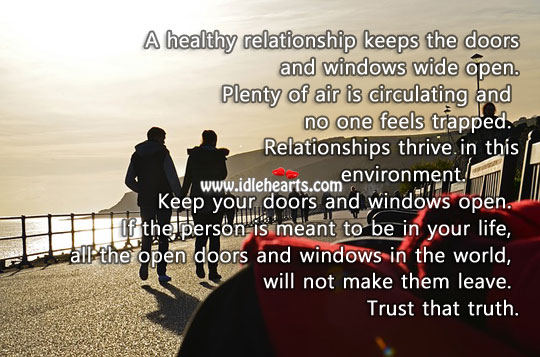 Image, A healthy relationship keeps the doors wide open.