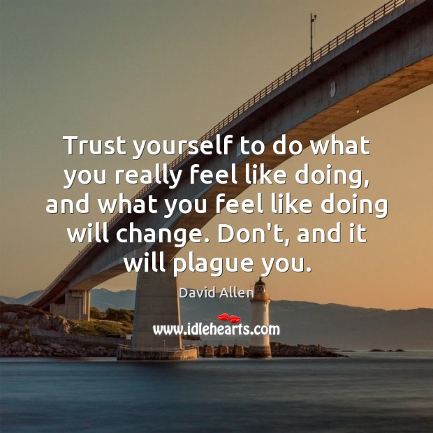 Trust yourself to do what you really feel like doing, and what David Allen Picture Quote