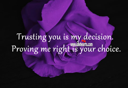 Image, Trusting you is my decision.