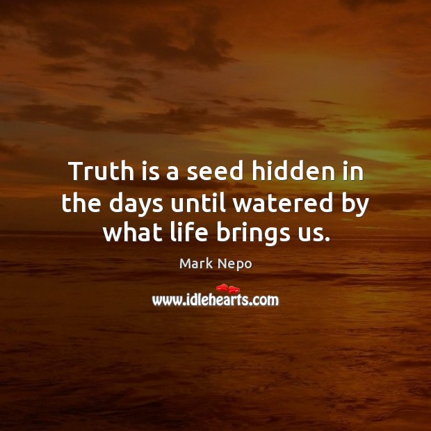 Truth is a seed hidden in the days until watered by what life brings us. Image