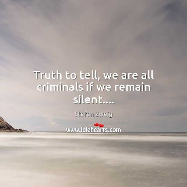 Truth to tell, we are all criminals if we remain silent…. Image