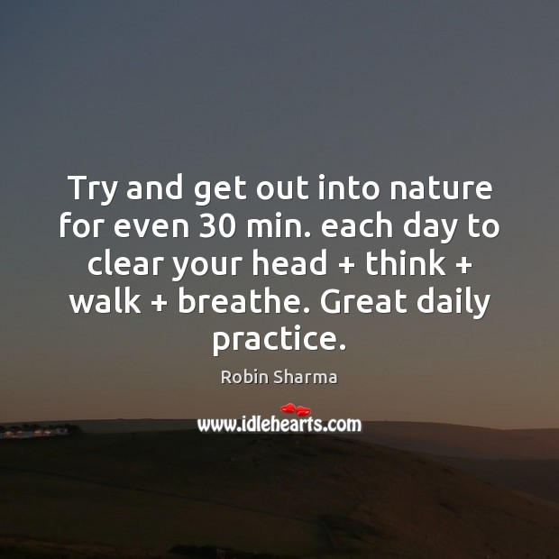 Try and get out into nature for even 30 min. each day to Image