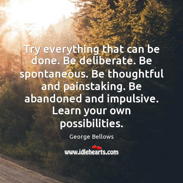 Try everything that can be done. Be deliberate. Be spontaneous. Be thoughtful Image