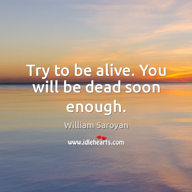 Try to be alive. You will be dead soon enough. William Saroyan Picture Quote