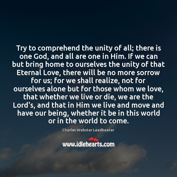 Try to comprehend the unity of all; there is one God, and Charles Webster Leadbeater Picture Quote