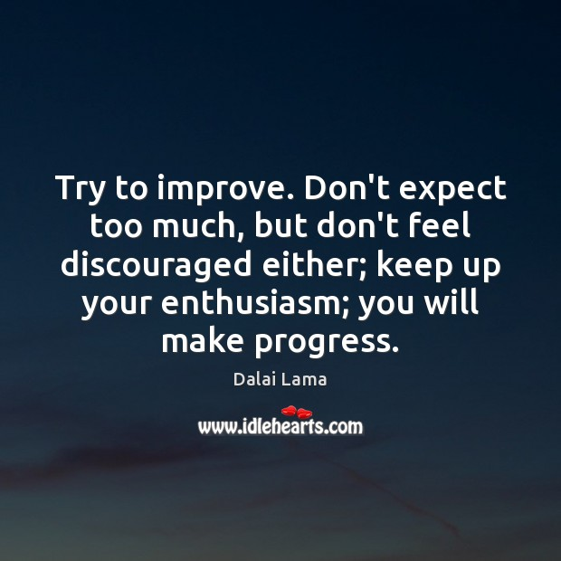 Try to improve. Don't expect too much, but don't feel discouraged either; Dalai Lama Picture Quote