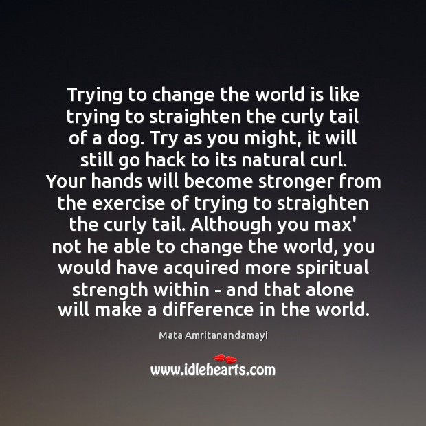 Trying to change the world is like trying to straighten the curly Image