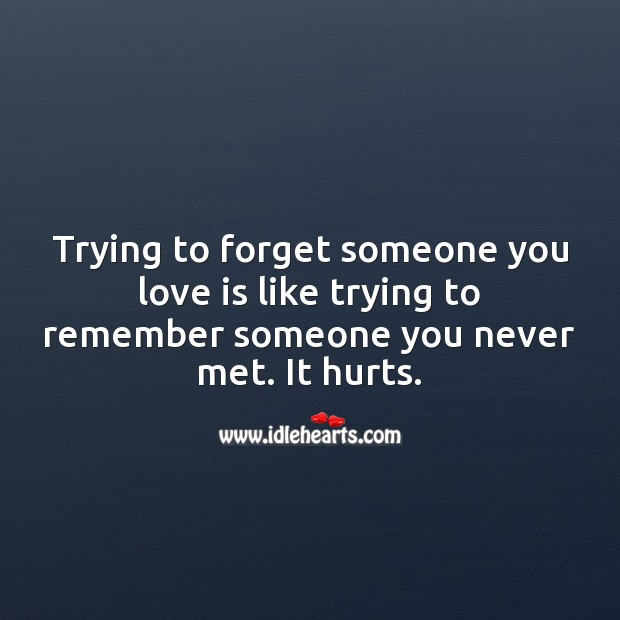 Trying to forget someone you love Love Hurts Quotes Image