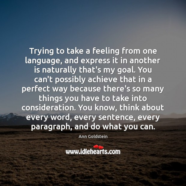 Image, Trying to take a feeling from one language, and express it in