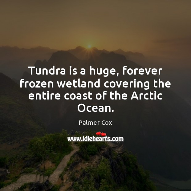 Tundra is a huge, forever frozen wetland covering the entire coast of the Arctic Ocean. Image