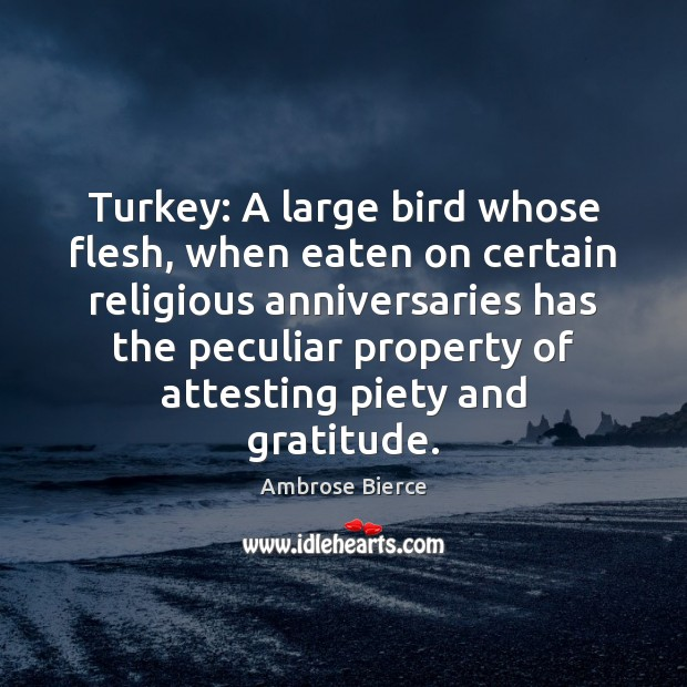 Turkey: A large bird whose flesh, when eaten on certain religious anniversaries Ambrose Bierce Picture Quote
