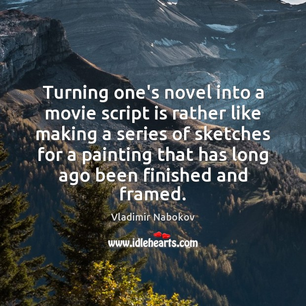 Turning one's novel into a movie script is rather like making a Image