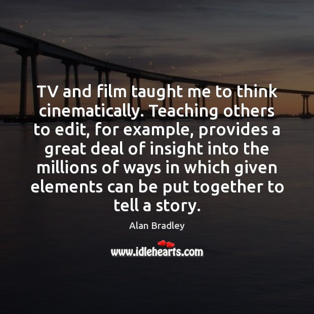 Image, TV and film taught me to think cinematically. Teaching others to edit,