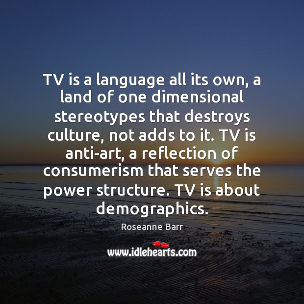 TV is a language all its own, a land of one dimensional Roseanne Barr Picture Quote