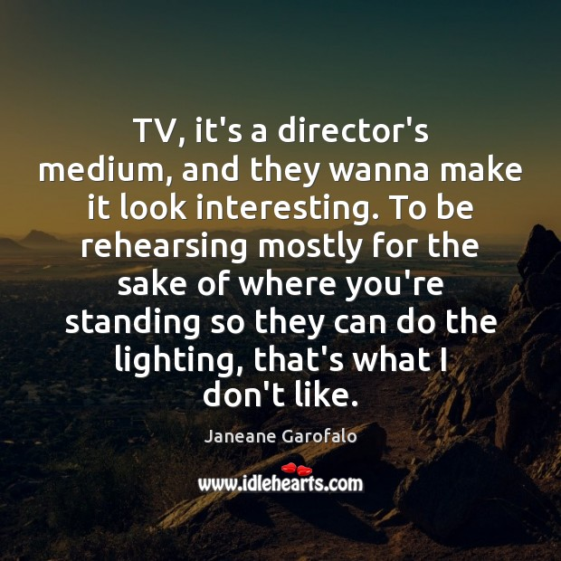 TV, it's a director's medium, and they wanna make it look interesting. Janeane Garofalo Picture Quote