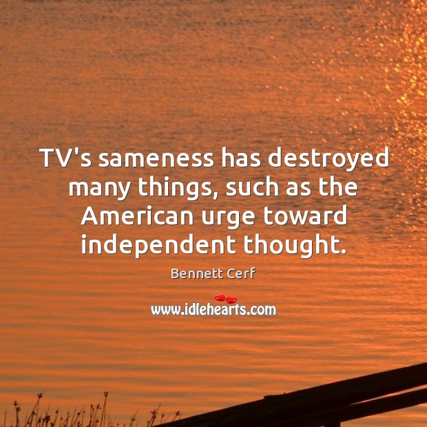 Image, TV's sameness has destroyed many things, such as the American urge toward