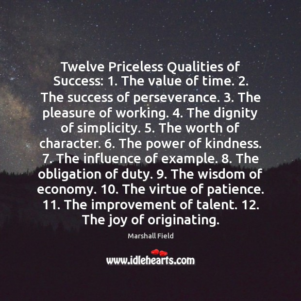 Image, Twelve Priceless Qualities of Success: 1. The value of time. 2. The success of