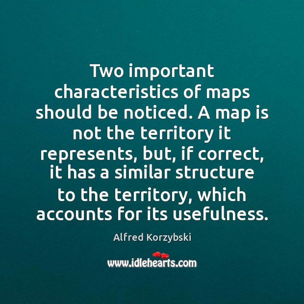 Image, Two important characteristics of maps should be noticed. A map is not