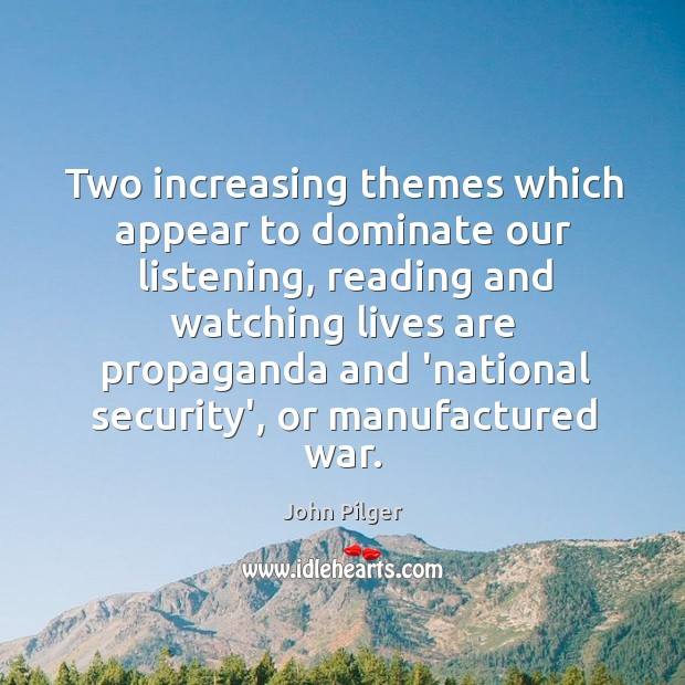 Two increasing themes which appear to dominate our listening, reading and watching Image