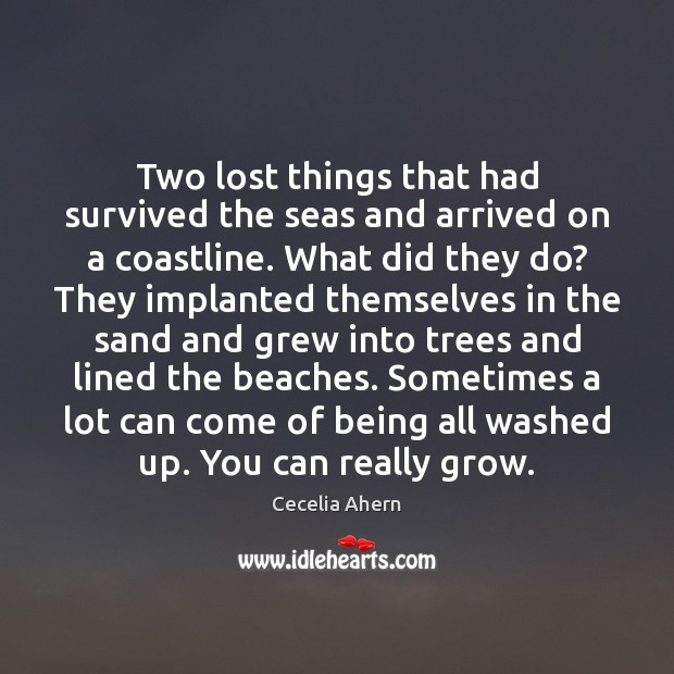 Cecelia Ahern Picture Quote image saying: Two lost things that had survived the seas and arrived on a