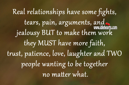 Two people wanting to be together no matter what. Image