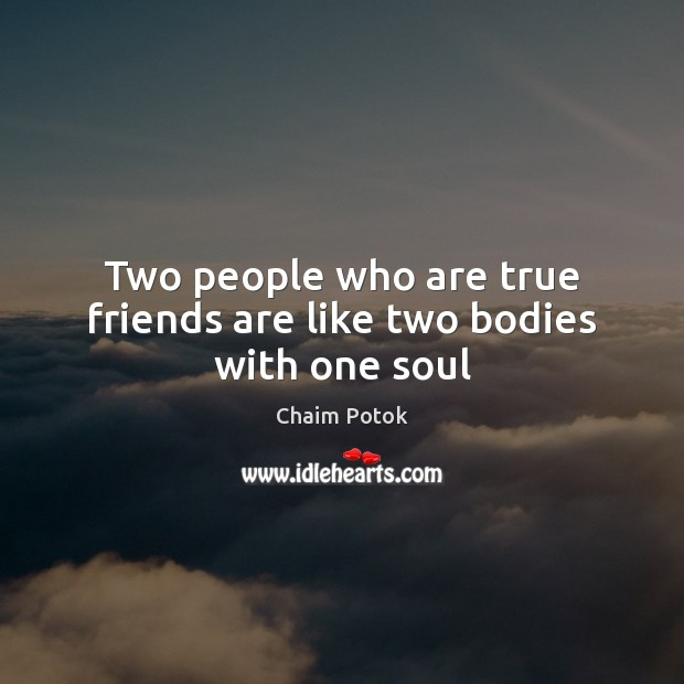 Two people who are true friends are like two bodies with one soul Image